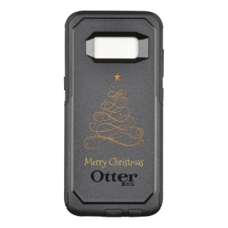 """Merry Christmas""  Gold Filigree Christmas Tree OtterBox Commuter Samsung Galaxy S8 Case"