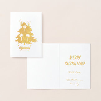 Merry Christmas Gold Foil Christmas Tree Candles Foil Card