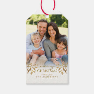 Merry Christmas Gold Foil Holly Holiday Photo Tag