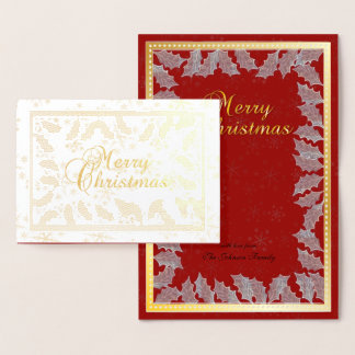 Merry Christmas Gold Foil Holly Leaves Foil Card