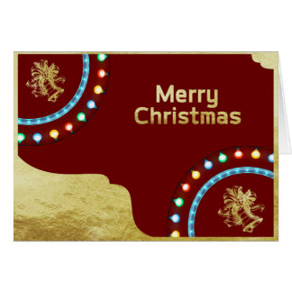 Merry Christmas Gold Foil with Bells Greeting Card