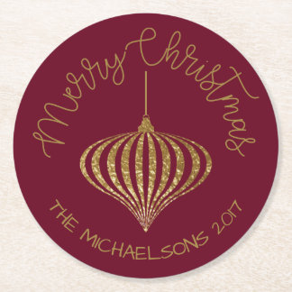 Merry Christmas | Gold Greetings Round Paper Coaster