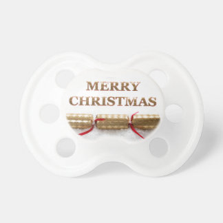 Merry Christmas Gold Message in Snow Pacifier