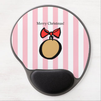 Merry Christmas Gold Ornament Gel Mouse Pad Pink