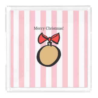 Merry Christmas Gold Ornament LG Perfume Tray Pink