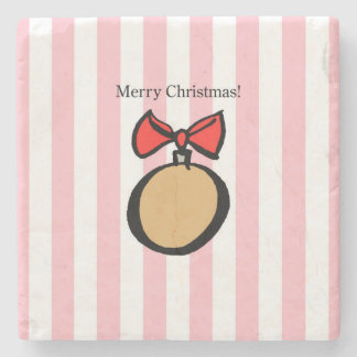 Merry Christmas Gold Ornament Marble Stone Coaster