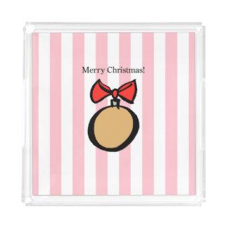 Merry Christmas Gold Ornament Med. Perfume Tray Pk