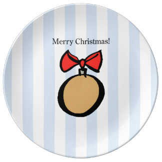 Merry Christmas Gold Ornament Porcelain Plate Blue
