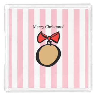 Merry Christmas Gold Ornament XL Perfume Tray Pink