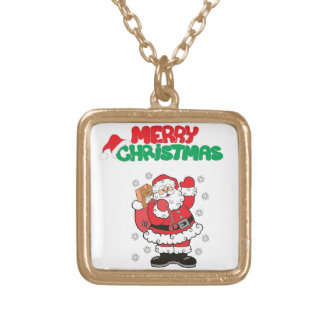 Merry Christmas Gold Plated Necklace