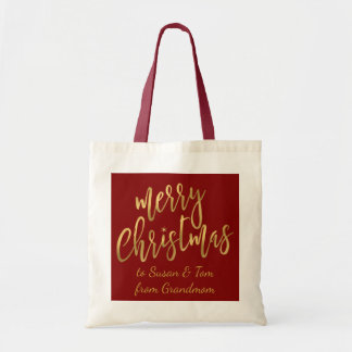 Merry Christmas Gold Red Gift Bag - To & From