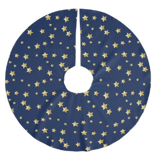 Merry Christmas Gold Stars On Dark Blue Background Brushed Polyester Tree Skirt