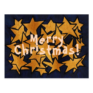 Merry Christmas Gold Stars Pattern Postcard