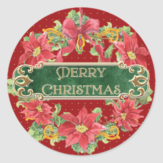 Merry Christmas Gold Swirl Poinsettia Wreath Jewel Classic Round Sticker