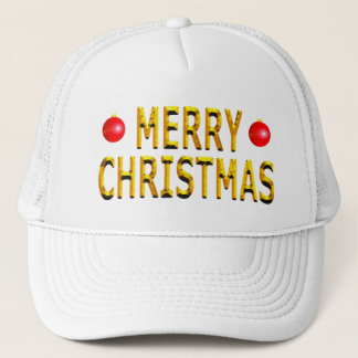 Merry Christmas Gold Trucker Hat