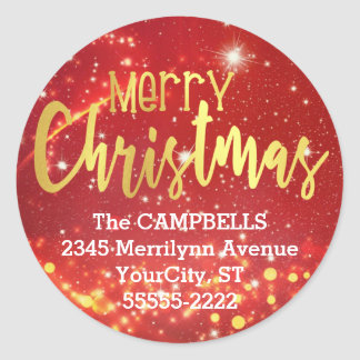 Merry Christmas, Gold/White Lights, Return Address Classic Round Sticker