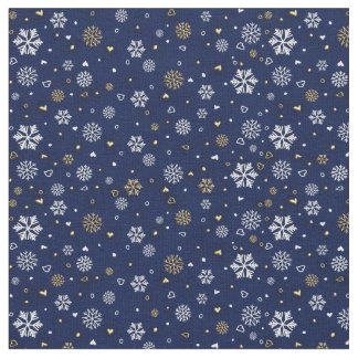 Merry Christmas Gold & White Snowflakes Elegant Fabric