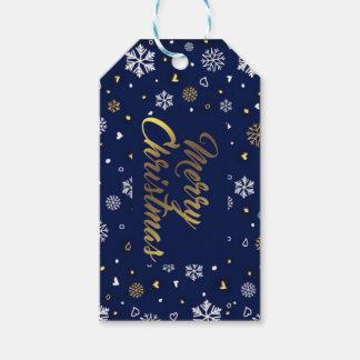 Merry Christmas Gold & White Snowflakes Elegant Gift Tags