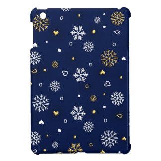 Merry Christmas Gold & White Snowflakes Elegant iPad Mini Cover