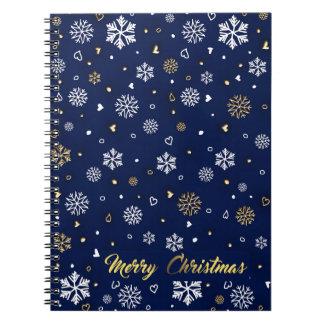 Merry Christmas Gold & White Snowflakes Elegant Notebooks
