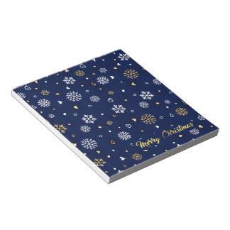 Merry Christmas Gold & White Snowflakes Elegant Notepad