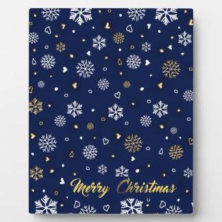 Merry Christmas Gold & White Snowflakes Elegant Plaque