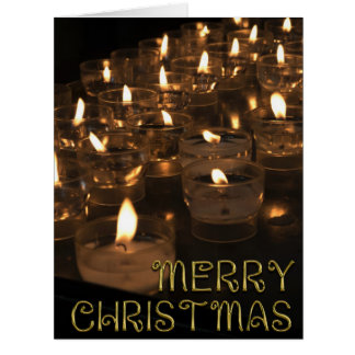 Merry Christmas Golden Typography Candles Lights Card