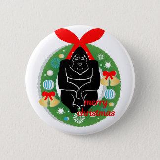 merry christmas gorilla 2 inch round button