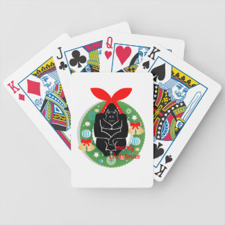 merry christmas gorilla bicycle playing cards
