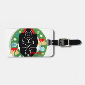 merry christmas gorilla luggage tag