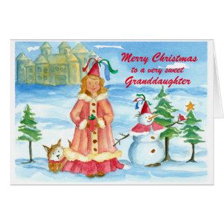 Merry Christmas Granddaughter Princess Castle Card