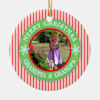 Merry Christmas Grandma and Grandpa Dated Photo Ceramic Ornament