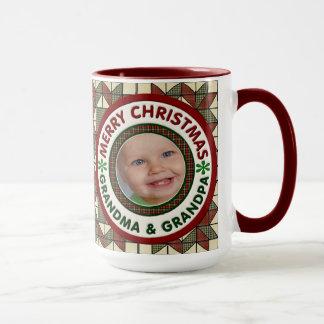 Merry Christmas Grandma and Grandpa Holiday Photo Mug