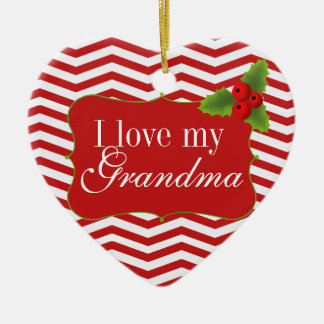 Merry Christmas Grandma Chevron Photo Ceramic Heart Ornament