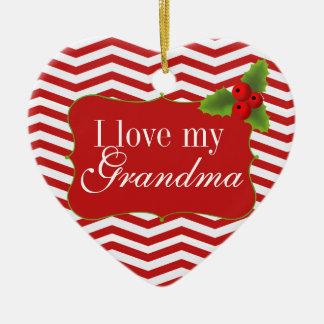 Merry Christmas Grandma Chevron Photo Ceramic Ornament