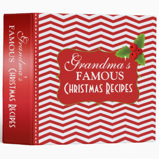 Merry Christmas Grandma's Recipes Chevron Binders