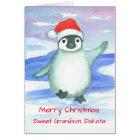 Merry Christmas Grandson Baby Penguin Custom Card