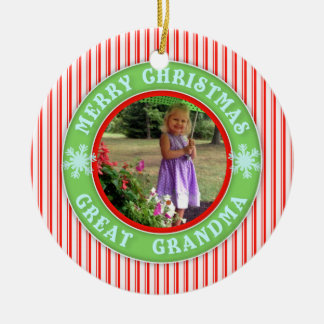 Merry Christmas Great Grandma Dated Photo Ceramic Ornament