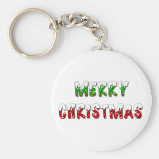 Merry Christmas Green and Red With Snow Keychain
