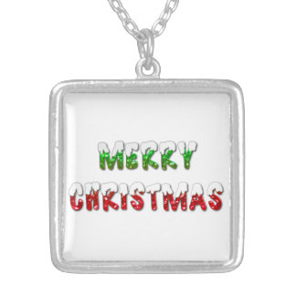 Merry Christmas Green and Red With Snow Necklace