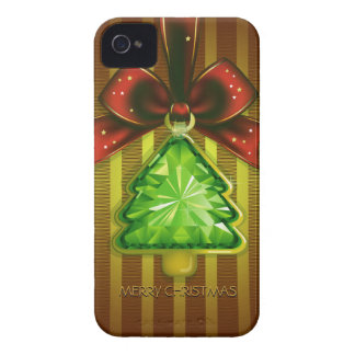 Merry Christmas Green Diamond Tree iPhone 4 Cover