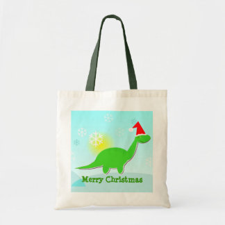 Merry Christmas Green Dinosaur Gift Bag/ Tote