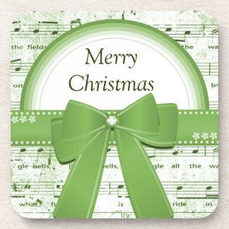 Merry Christmas green ribbon notes coaster