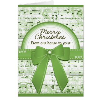 Merry Christmas green ribbon notes greeting card