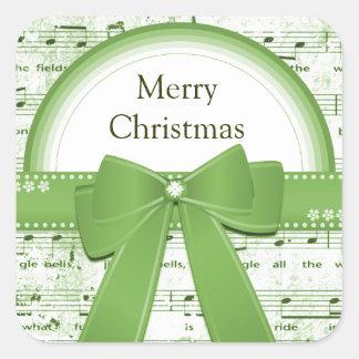 Merry Christmas green ribbon notes sticker