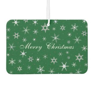 Merry Christmas Green Snowflakes Air Freshener