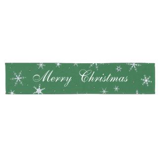 Merry Christmas Green Snowflakes Short Table Runner