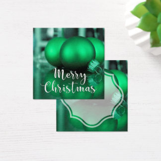 Merry Christmas Green Toned Ornaments Gift Tag