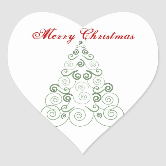 Merry Christmas, green tree of swirls Heart Sticker