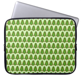 Merry Christmas Green Tree Sugar Cookie Holiday Laptop Sleeve